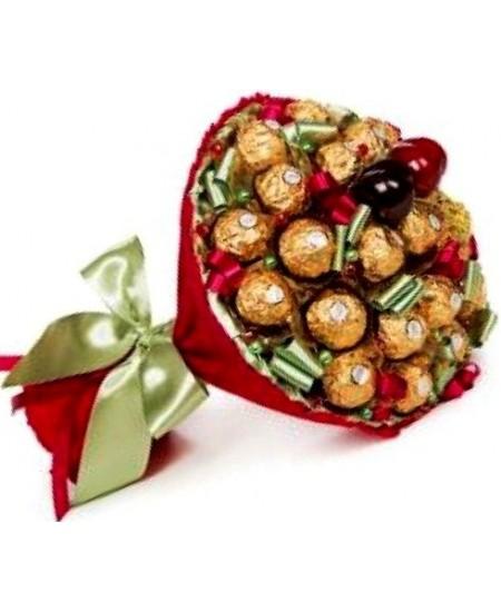 Букет из конфет Вишневый  со Срочной Доставкой в Москве и Подмосковье