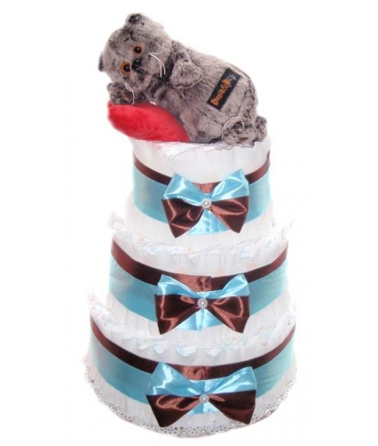 Торт из памперсов Басик на сердечке