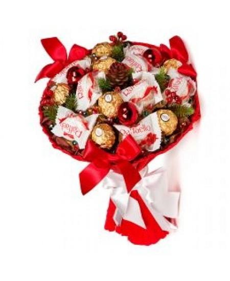 Букет из конфет  Еловый мотив - Срочная доставка в Москве