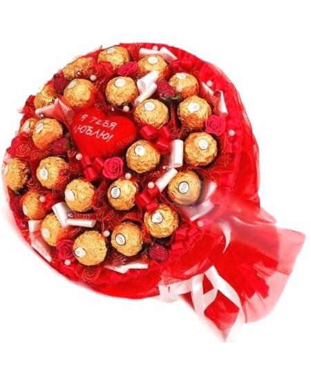 Букет из конфет  Красный с любовью