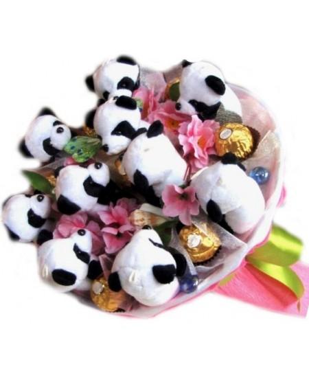 Букет из игрушек Панды в сакуре