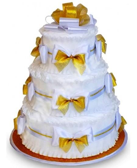 Торт из памперсов Золотистый