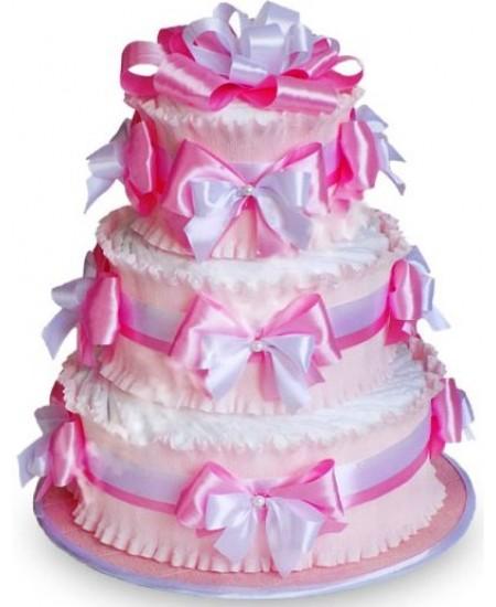 Торт из памперсов Розовый  - Супер цена  - Срочная доставка в Москве