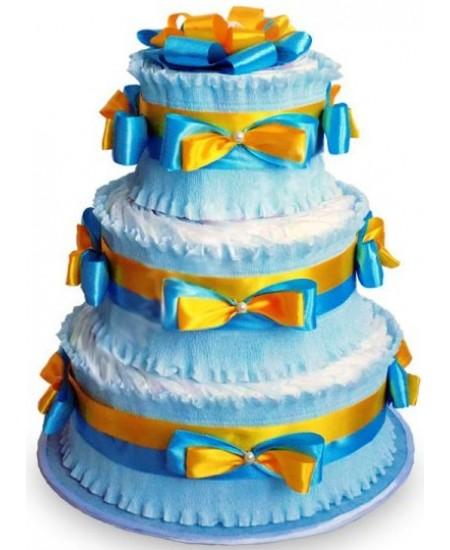 Торт из памперсов Голубой с золотом