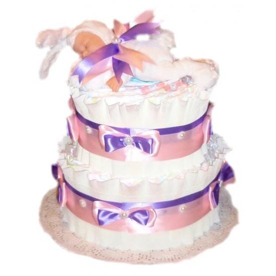Торт из памперсов Белый заинька