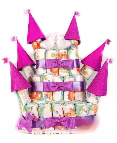 Торт из подгузников Розовый Замок  - Супер цена - Срочная доставка в Москве