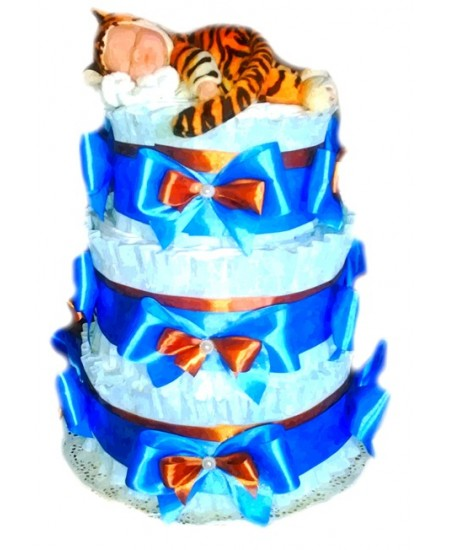 Торт из памперсов Тигренок в голубом