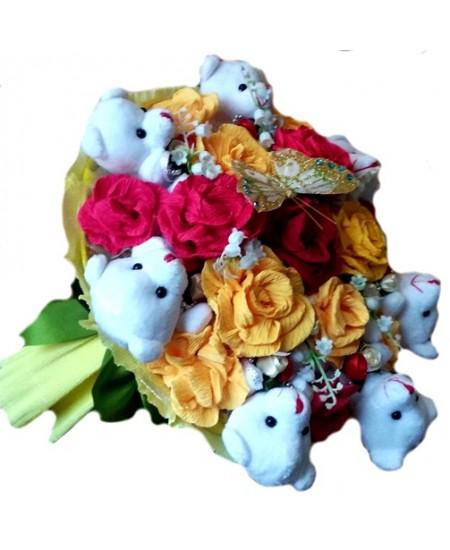 Букет из игрушек Мишки в розах  - Супер цена - Срочная доставка в Москве