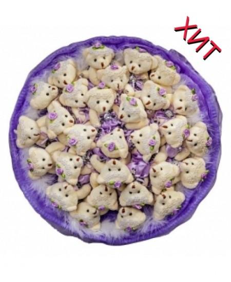 Букет из игрушек  - Райские мишки в сиреневом