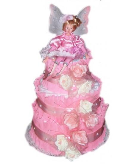Торт из памперсов Розовая Фея