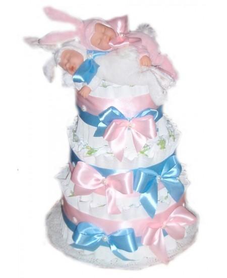 Торт из памперсов для двойняшек Милые зайцы