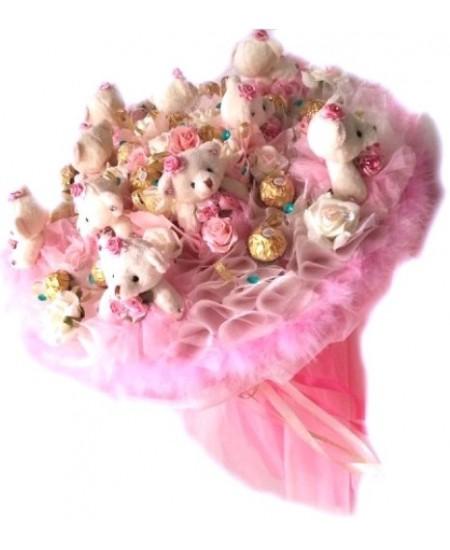 Букет из игрушек  Розовый зефир - Срочная доставка в Москве