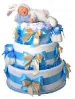 Торт из памперсов Мальчик-зайчик