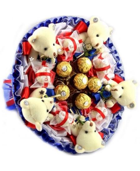 Букет из игрушек  Визит синий - Срочная доставка в Москве
