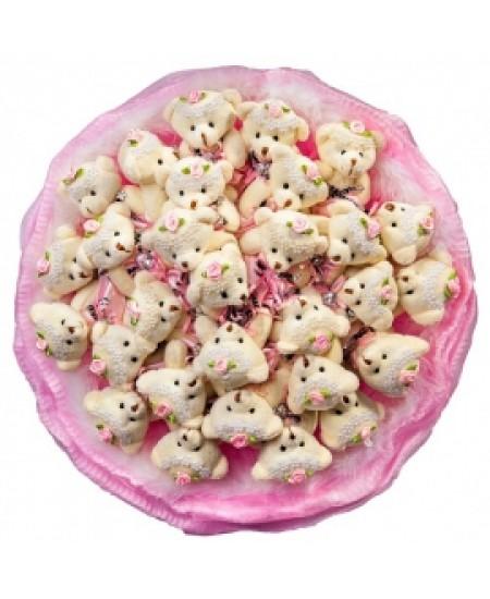 Букет из игрушек  - Райские мишки в розовом