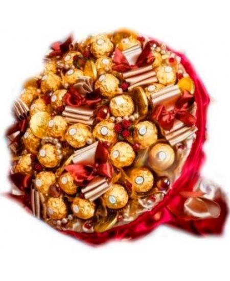 Букет из конфет  Шоколадный красный