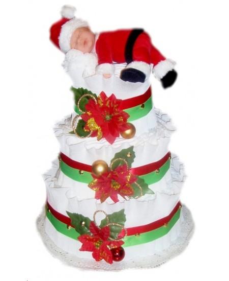 Торт из памперсов Маленький Санта