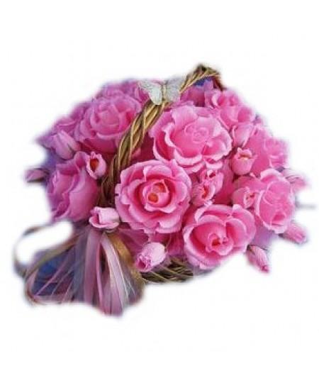 Букет из конфет  Розовая корзинка