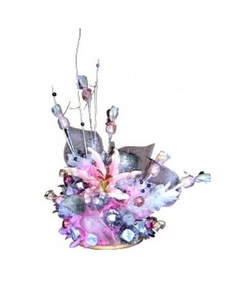 Букет из конфет  Серебристый розовый