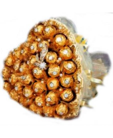 Букет из конфет  Блестящее сердце