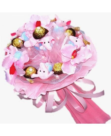 Букет из игрушек Розовые слоники