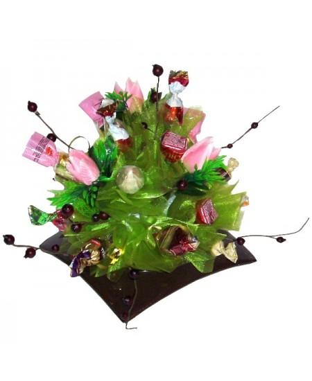 Букет из конфет  Японский садик розовый