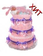 Торт из памперсов Розовый Зайка